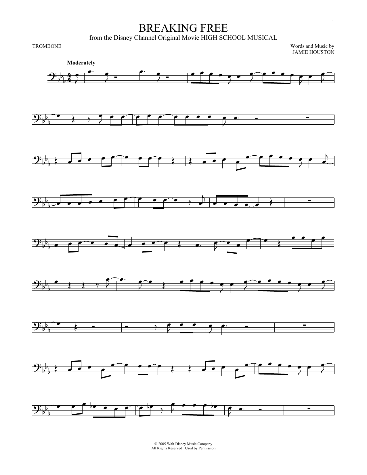 Partition autre Breaking Free (from High School Musical) de Vanessa Hudgens and Zac Efron - Trombone