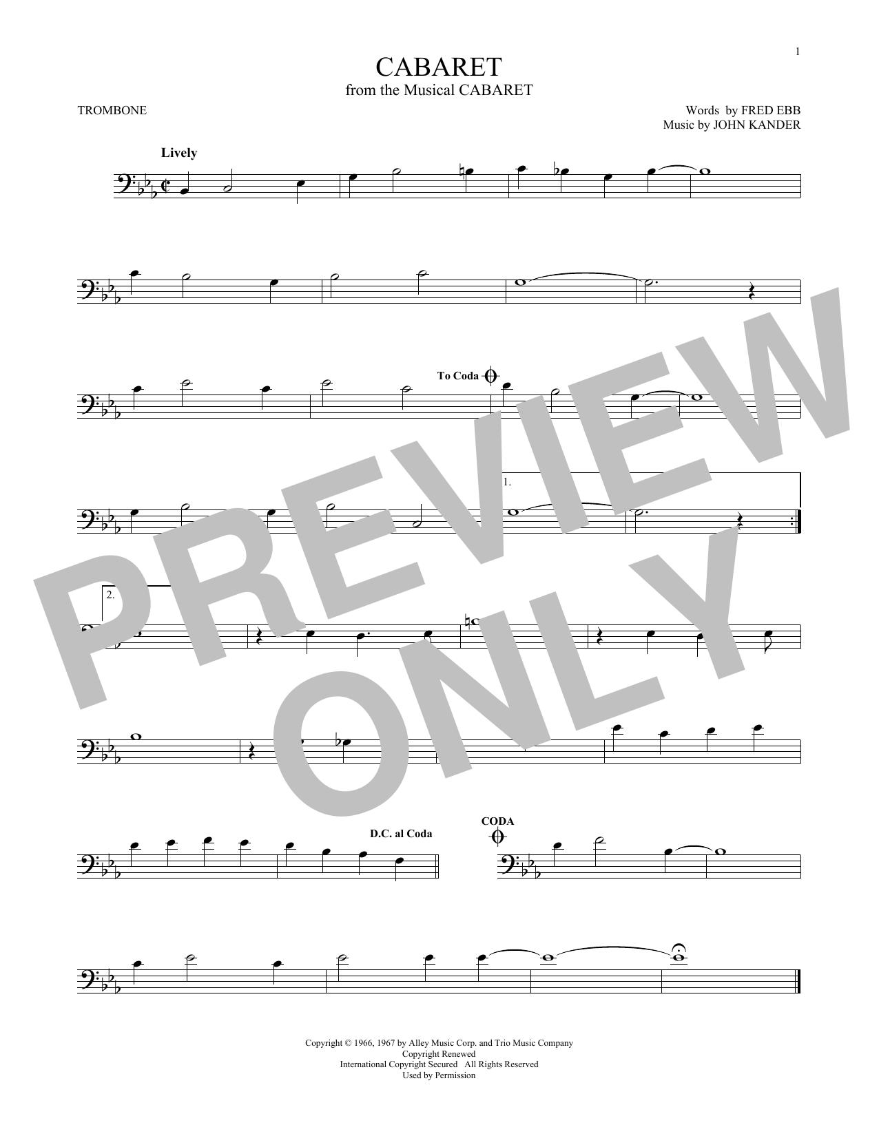 Partition autre Cabaret de Kander & Ebb - Trombone