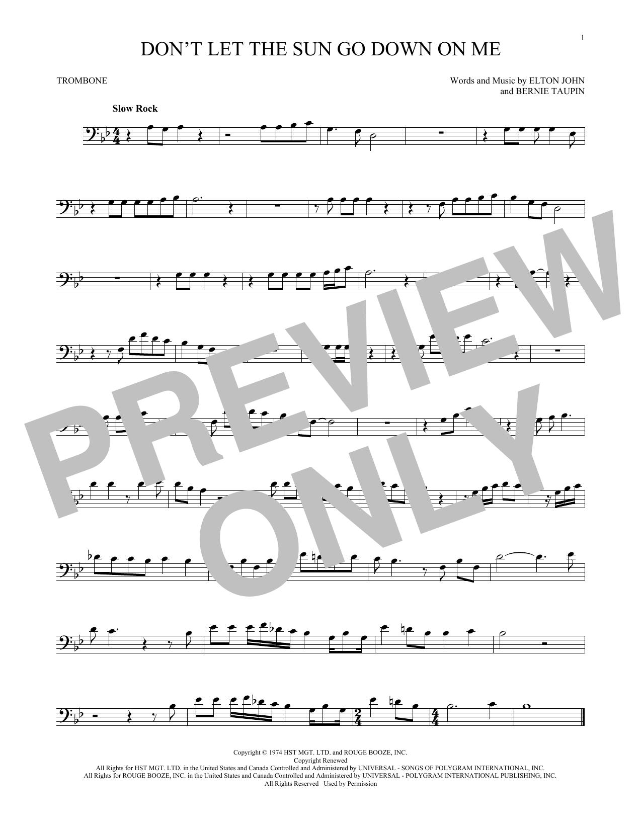 Partition autre Don't Let The Sun Go Down On Me de Elton John & George Michael - Trombone