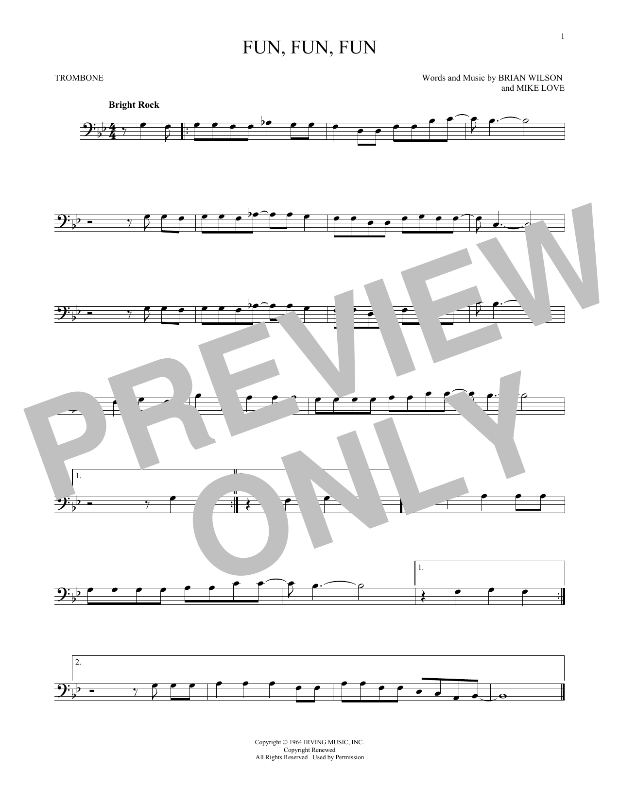 Partition autre Fun, Fun, Fun de The Beach Boys - Trombone