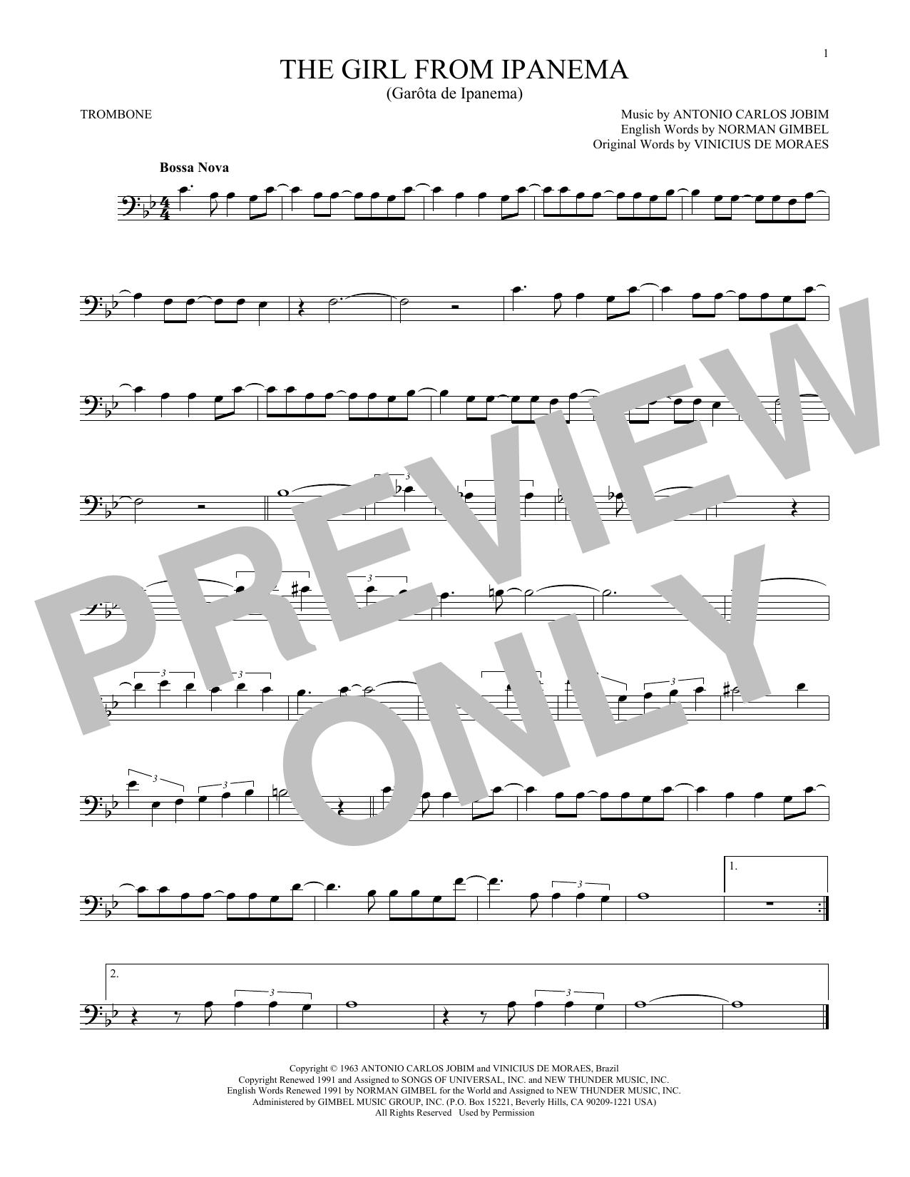 Partition autre The Girl From Ipanema de Antonio Carlos Jobim - Trombone