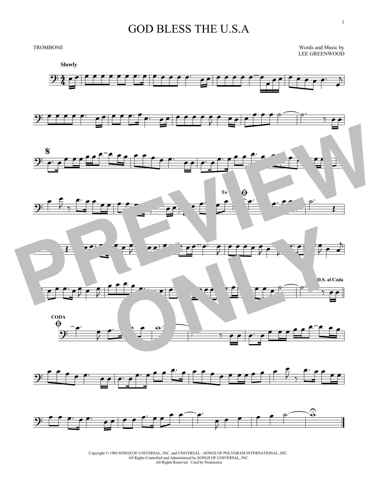 Partition autre God Bless The U.S.A. de Lee Greenwood - Trombone