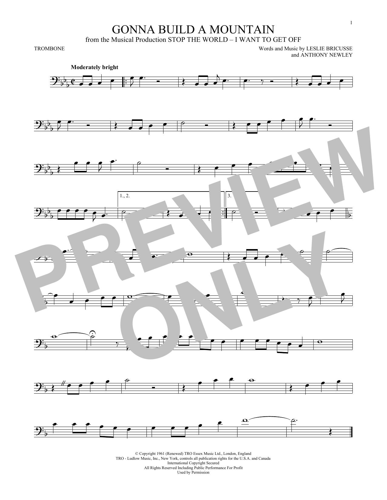 Partition autre Gonna Build A Mountain de Leslie Bricusse - Trombone