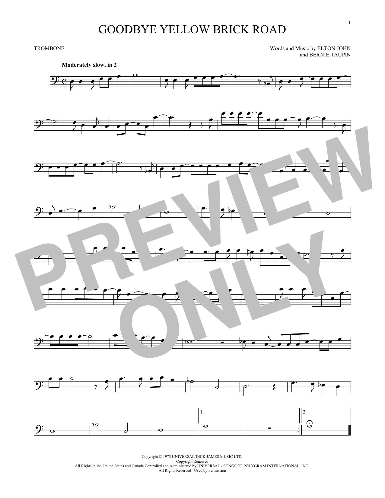 Partition autre Goodbye Yellow Brick Road de Elton John - Trombone