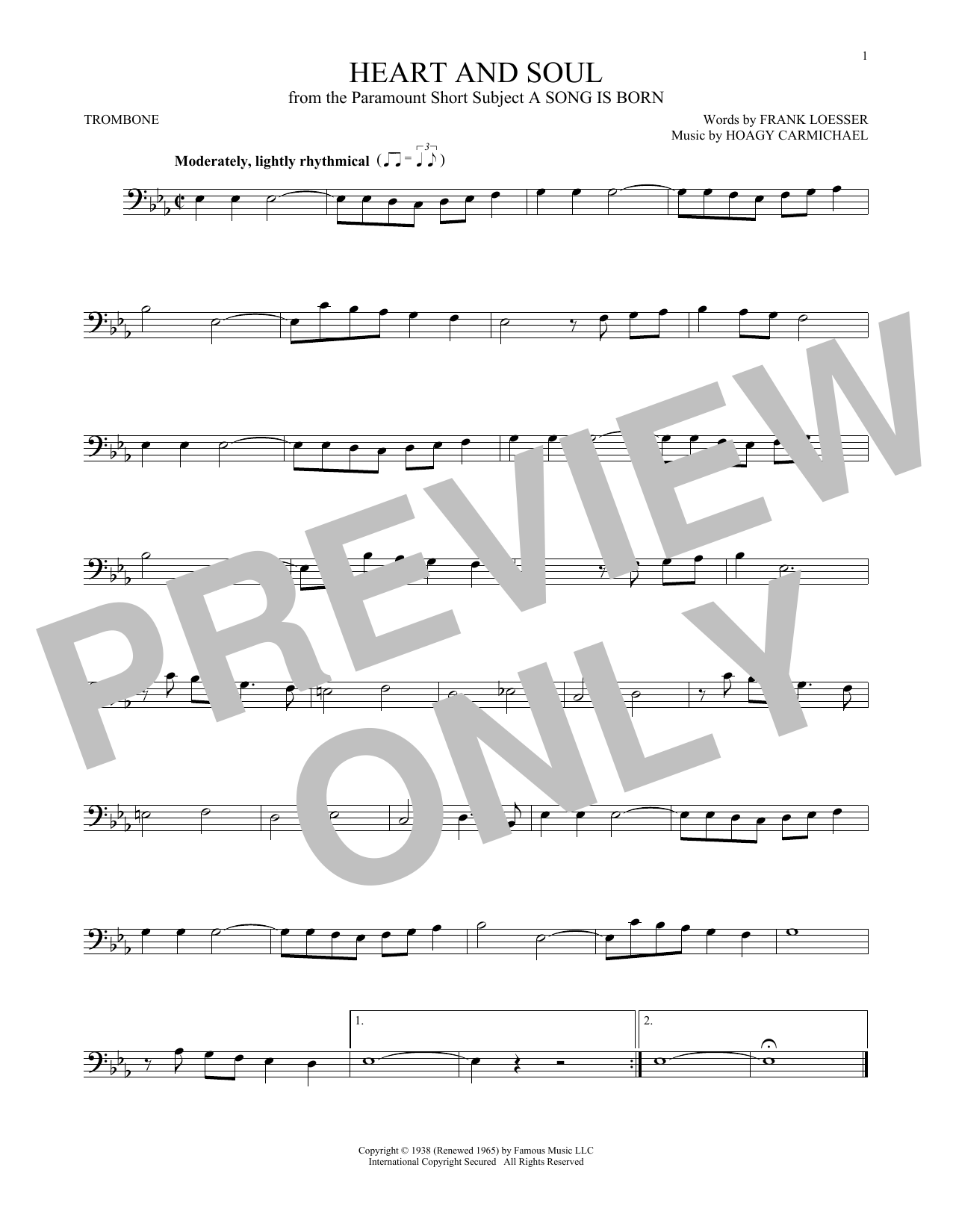 Partition autre Heart And Soul de Hoagy Carmichael - Trombone