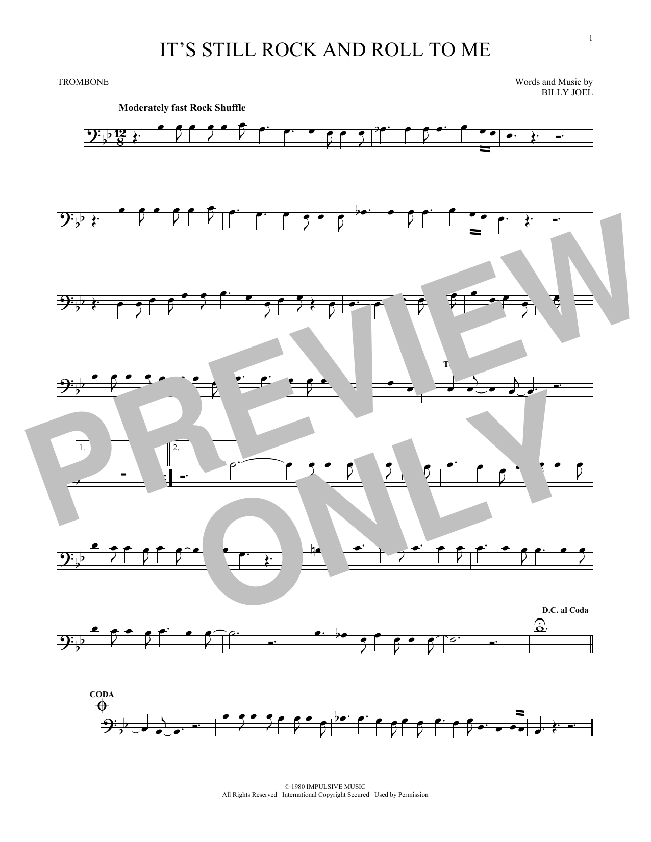 Partition autre It's Still Rock And Roll To Me de Billy Joel - Trombone