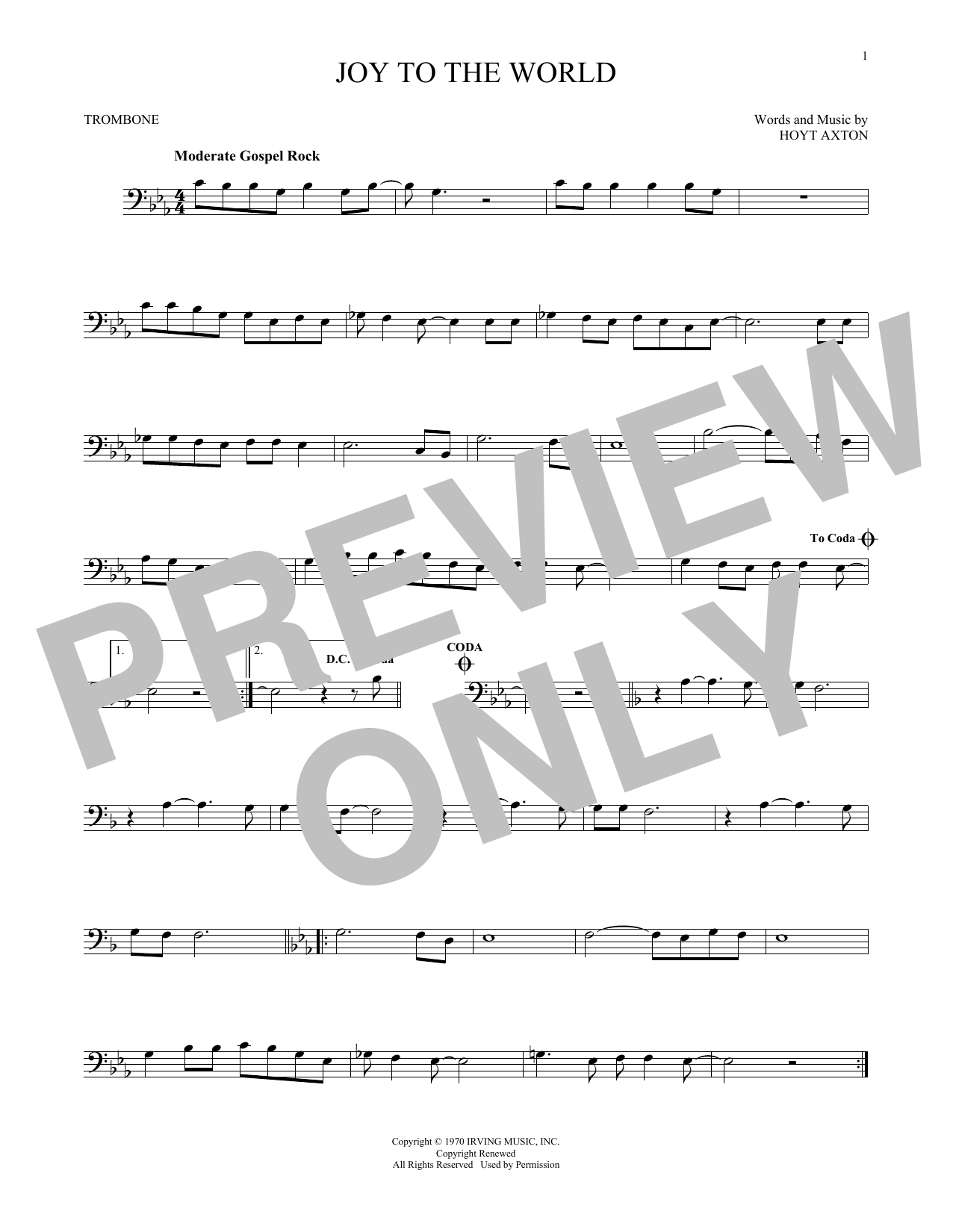 Partition autre Joy To The World de Three Dog Night - Trombone