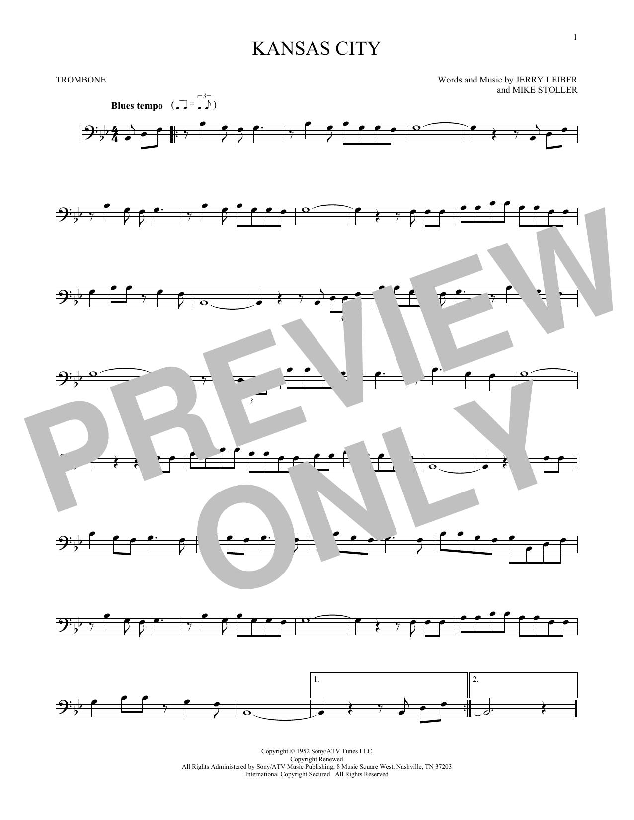 Partition autre Kansas City de Jerry Lieber & Mike Stoller - Trombone