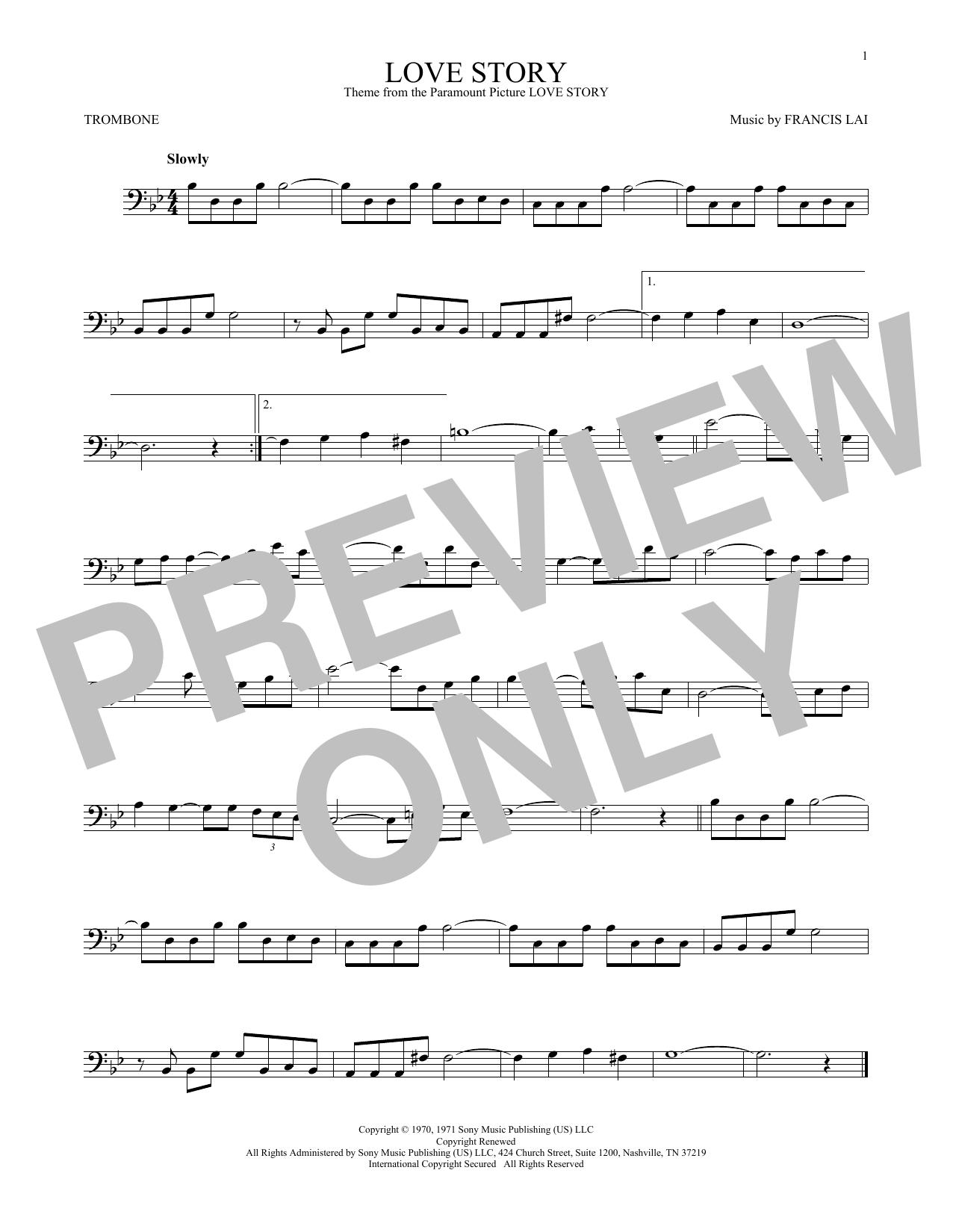 Partition autre Love Story de Francis Lai - Trombone