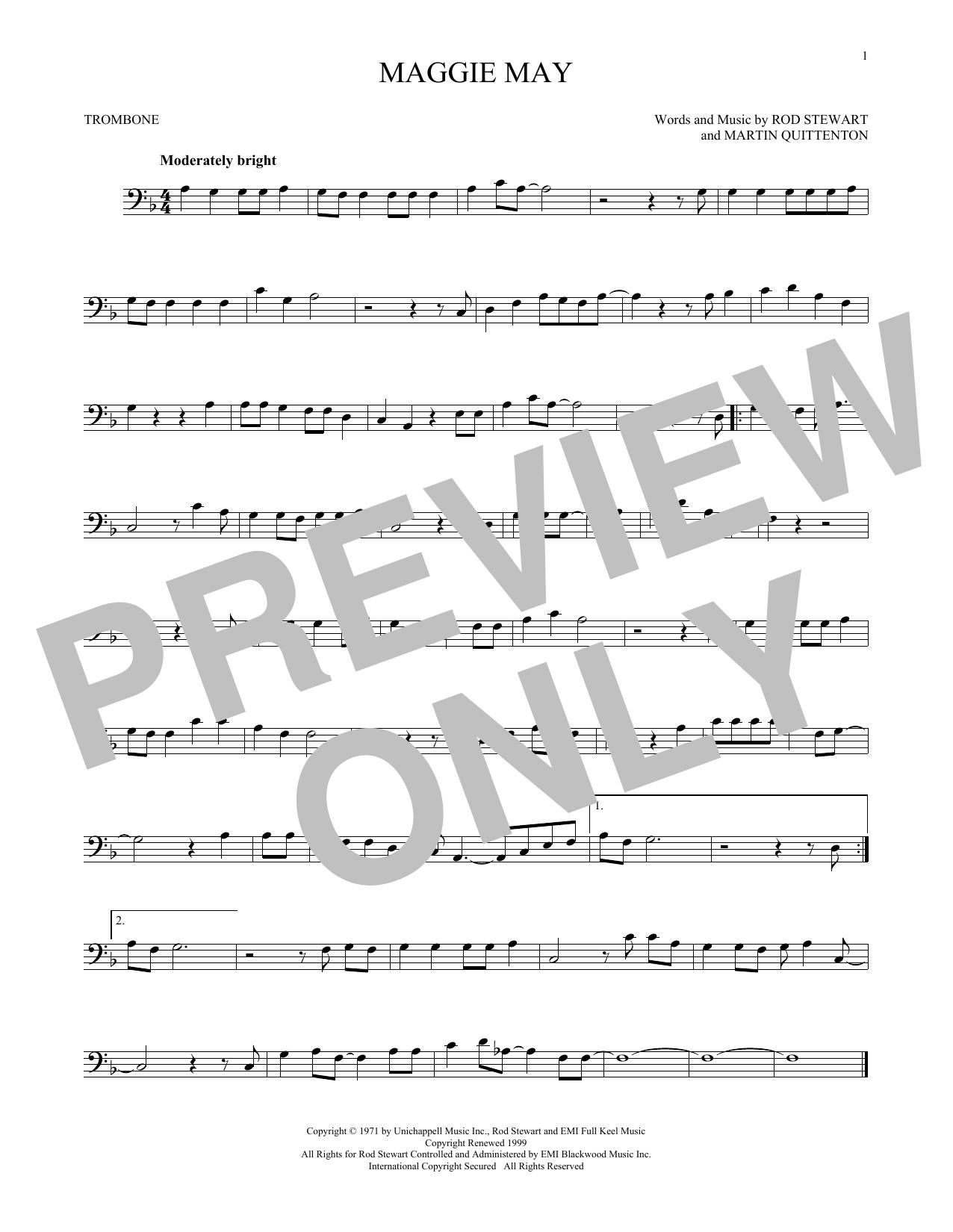 Partition autre Maggie May de Rod Stewart - Trombone
