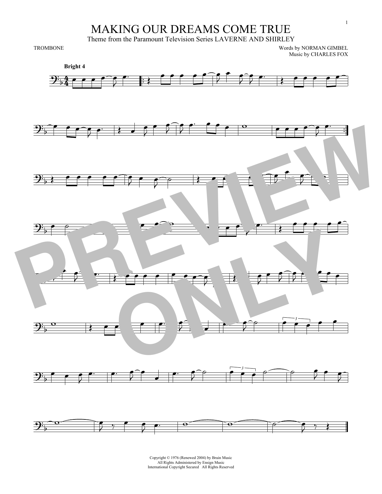 Partition autre Making Our Dreams Come True de Norman Gimbel & Charles Fox - Trombone