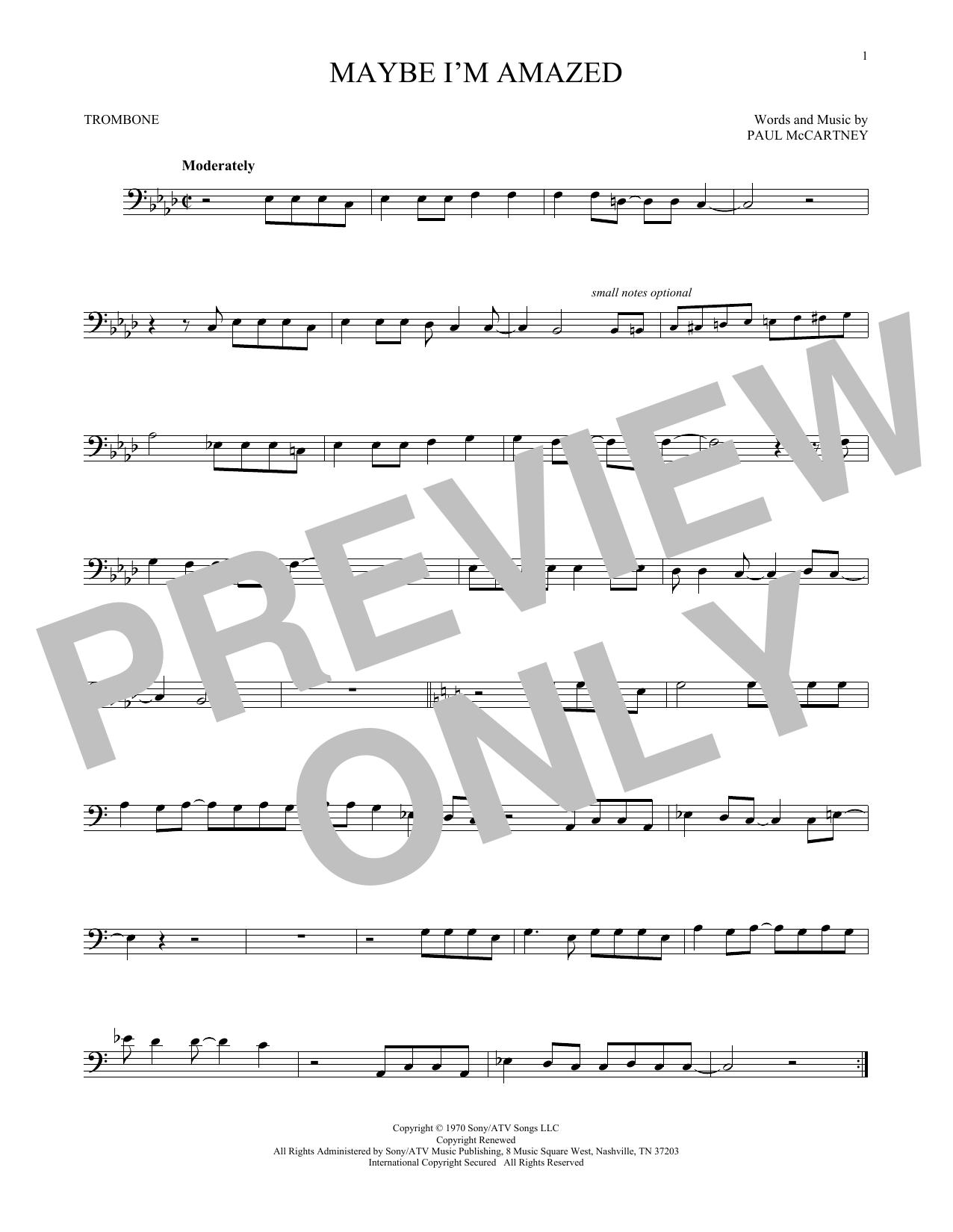 Partition autre Maybe I'm Amazed de Paul McCartney - Trombone