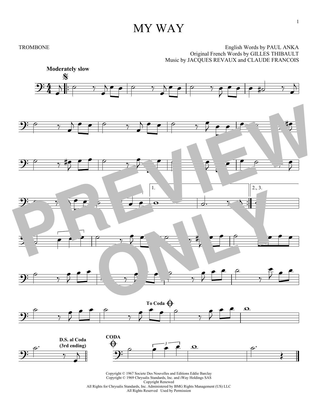 Partition autre My Way de Frank Sinatra - Trombone