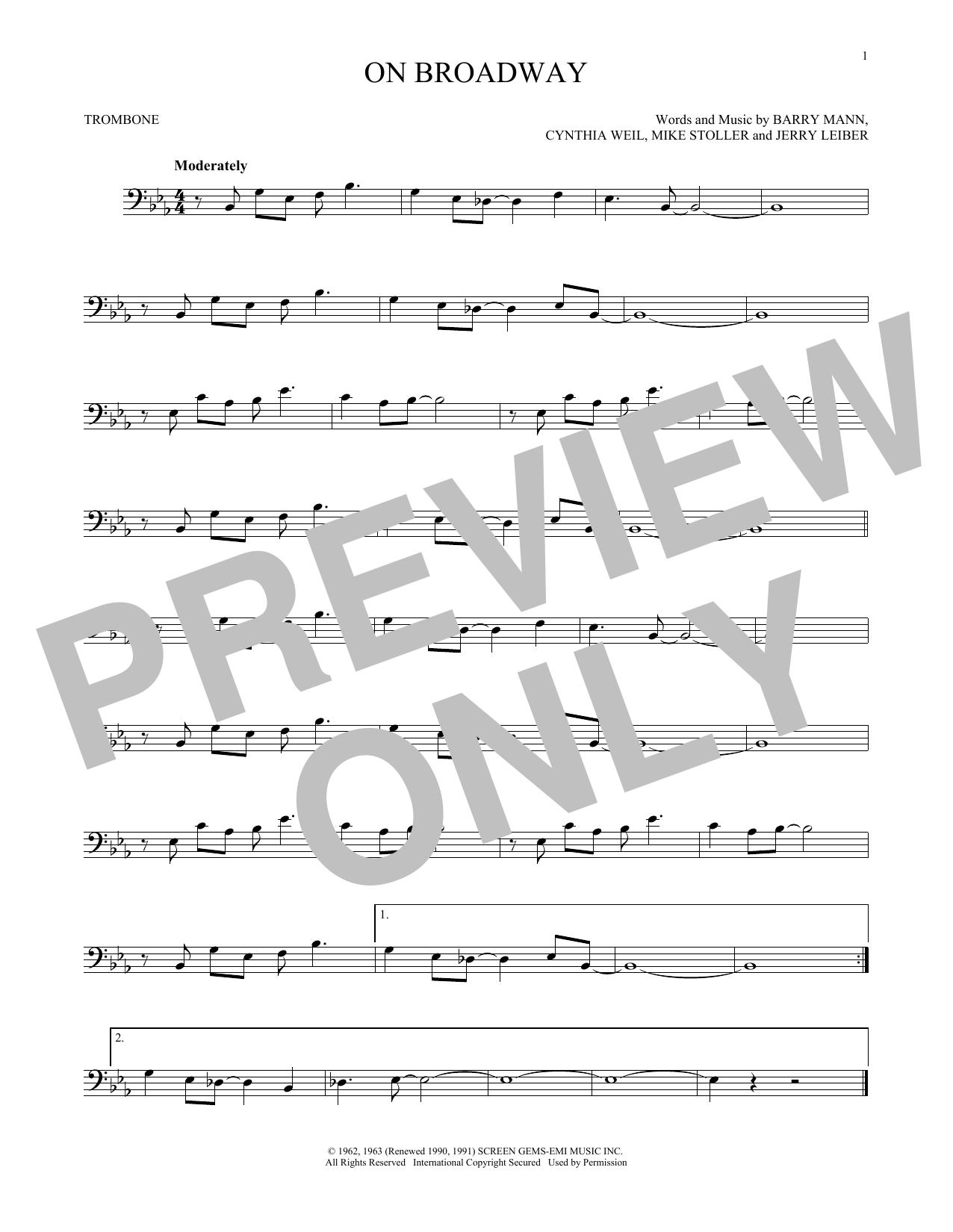 Partition autre On Broadway de George Benson - Trombone