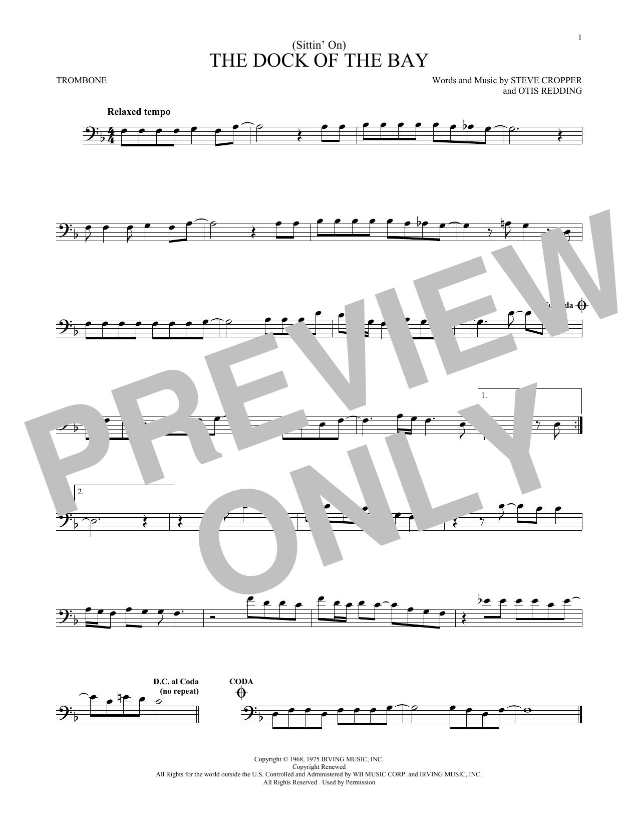 Partition autre (Sittin' On) The Dock Of The Bay de Otis Redding - Trombone