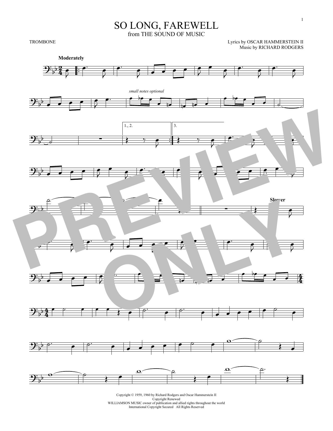 Partition autre So Long, Farewell de Rodgers & Hammerstein - Trombone
