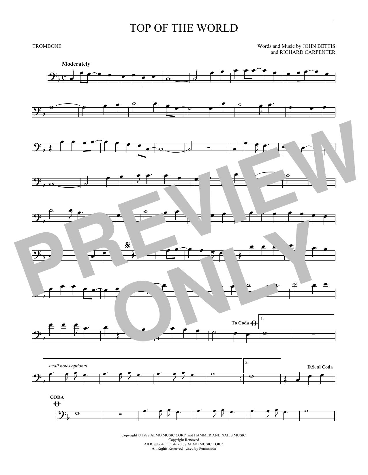 Partition autre Top Of The World de The Carpenters - Trombone