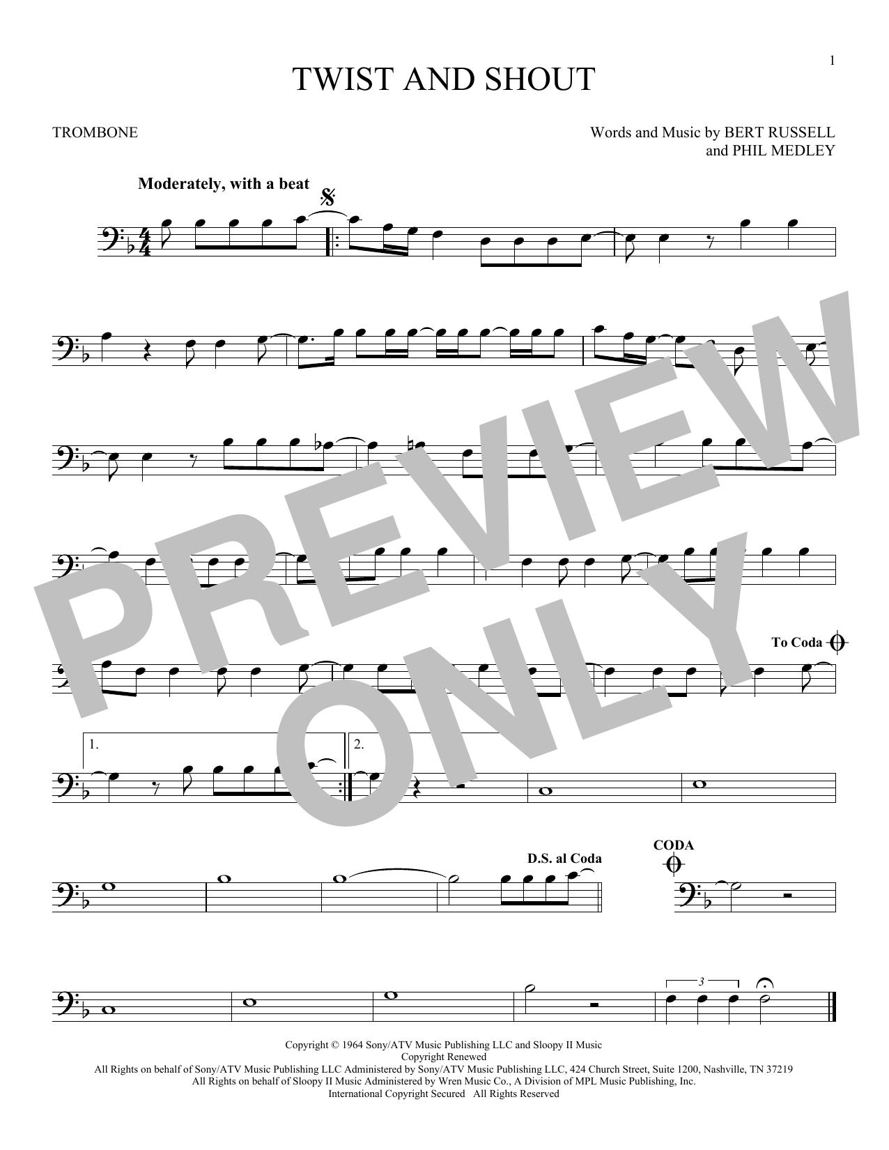 Partition autre Twist And Shout de The Beatles - Trombone