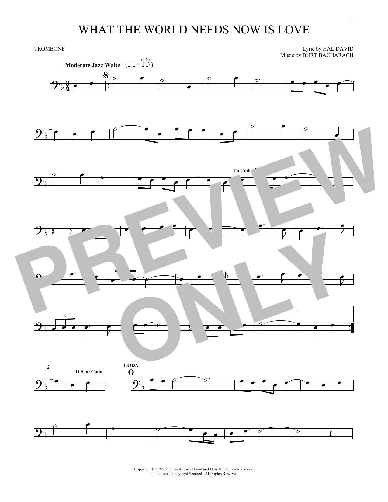 Partition autre What The World Needs Now Is Love de Bacharach & David - Trombone