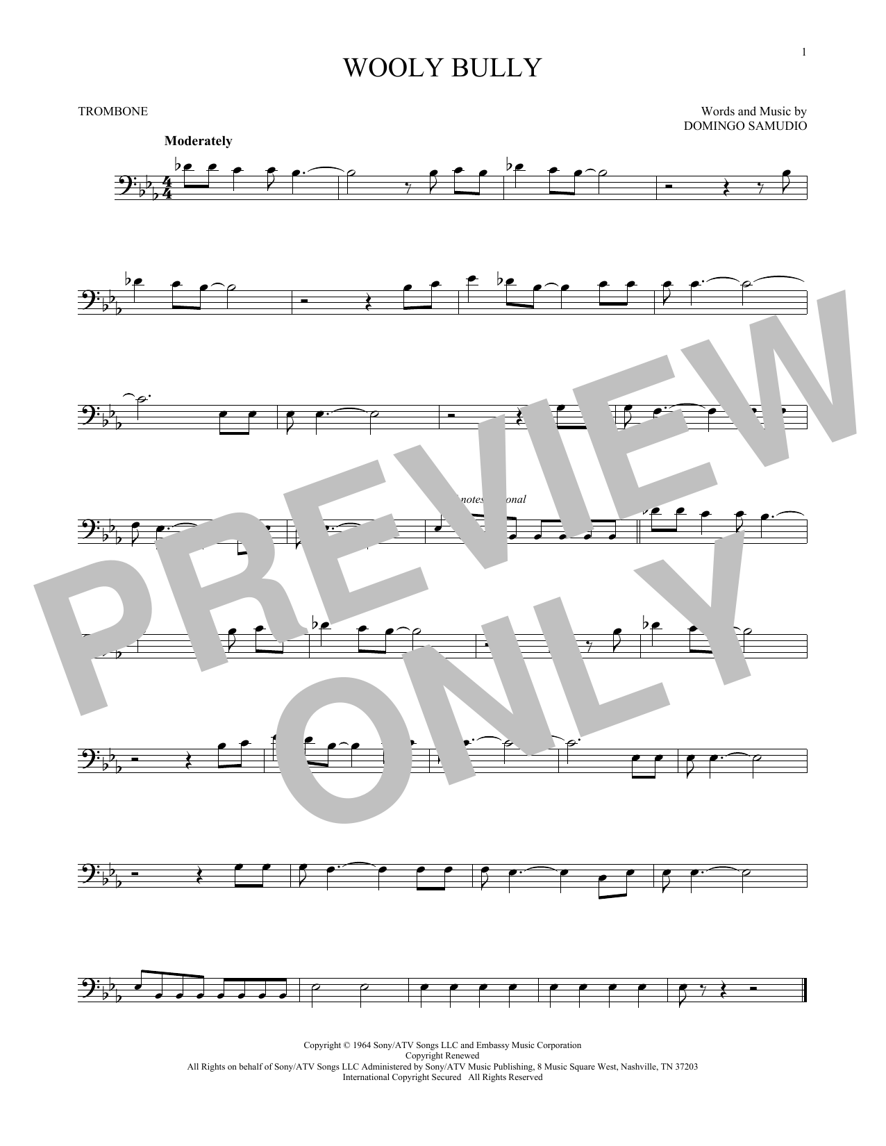 Partition autre Wooly Bully de Sam The Sham & The Pharaohs - Trombone