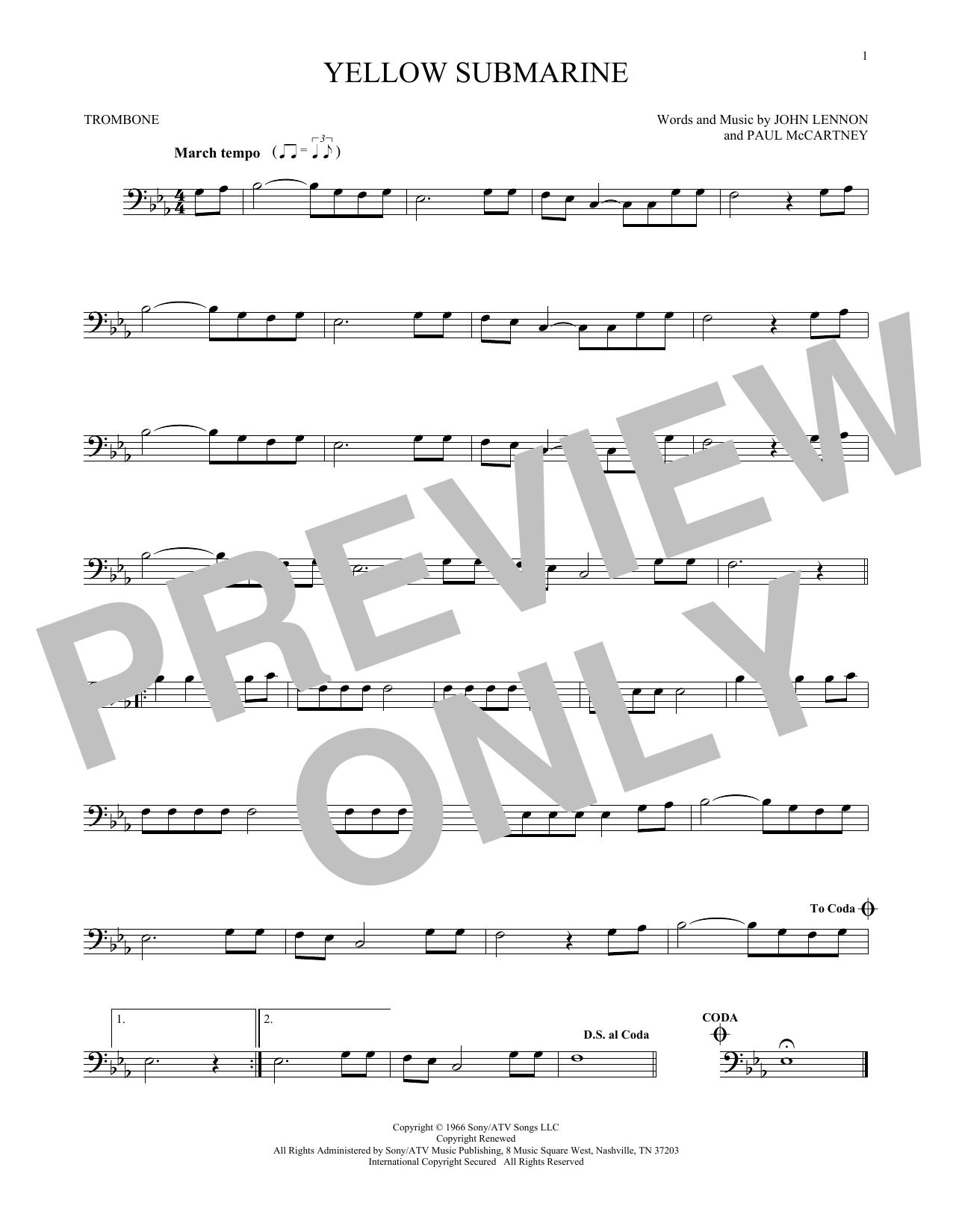 Partition autre Yellow Submarine de The Beatles - Trombone