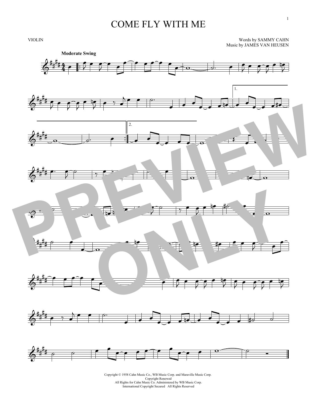 Partition autre Come Fly With Me de Frank Sinatra - Violon
