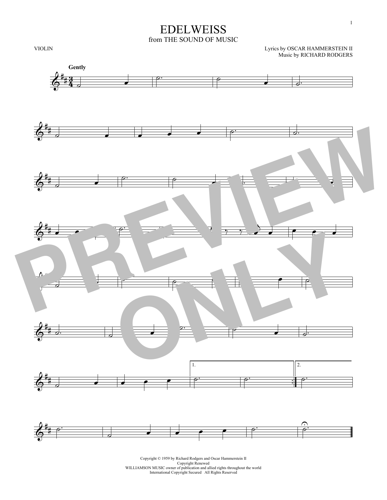 Partition autre Edelweiss de Rodgers & Hammerstein - Violon
