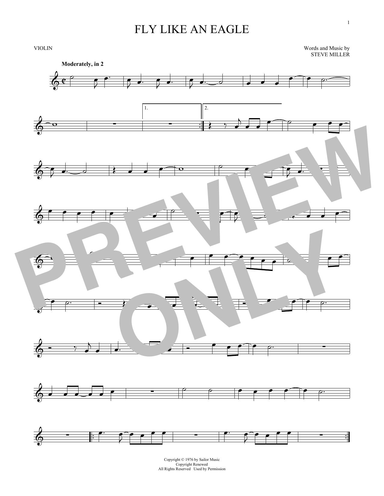 Partition autre Fly Like An Eagle de Steve Miller Band - Violon