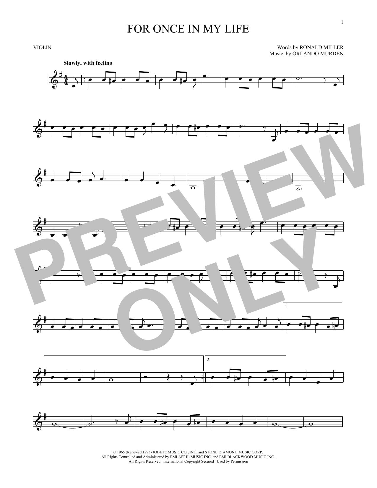 Partition autre For Once In My Life de Stevie Wonder - Violon