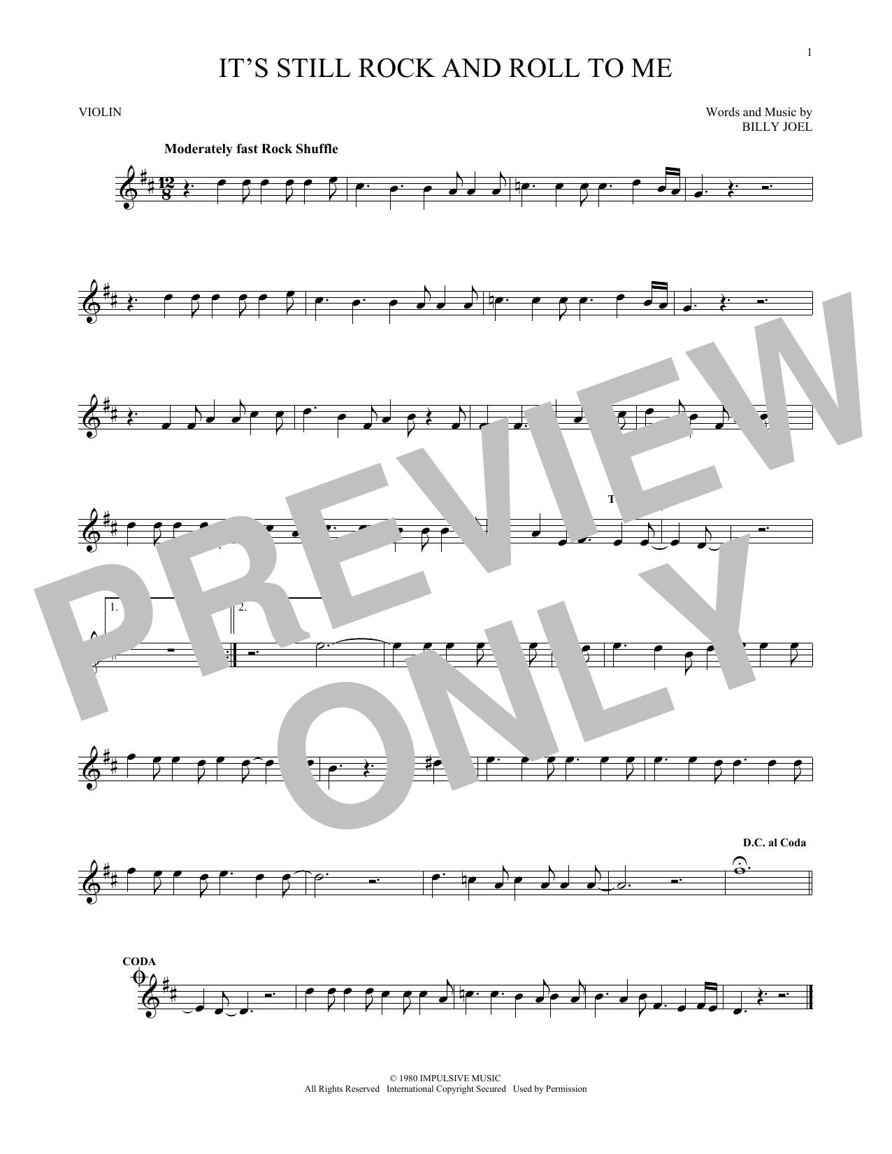 Partition autre It's Still Rock And Roll To Me de Billy Joel - Violon