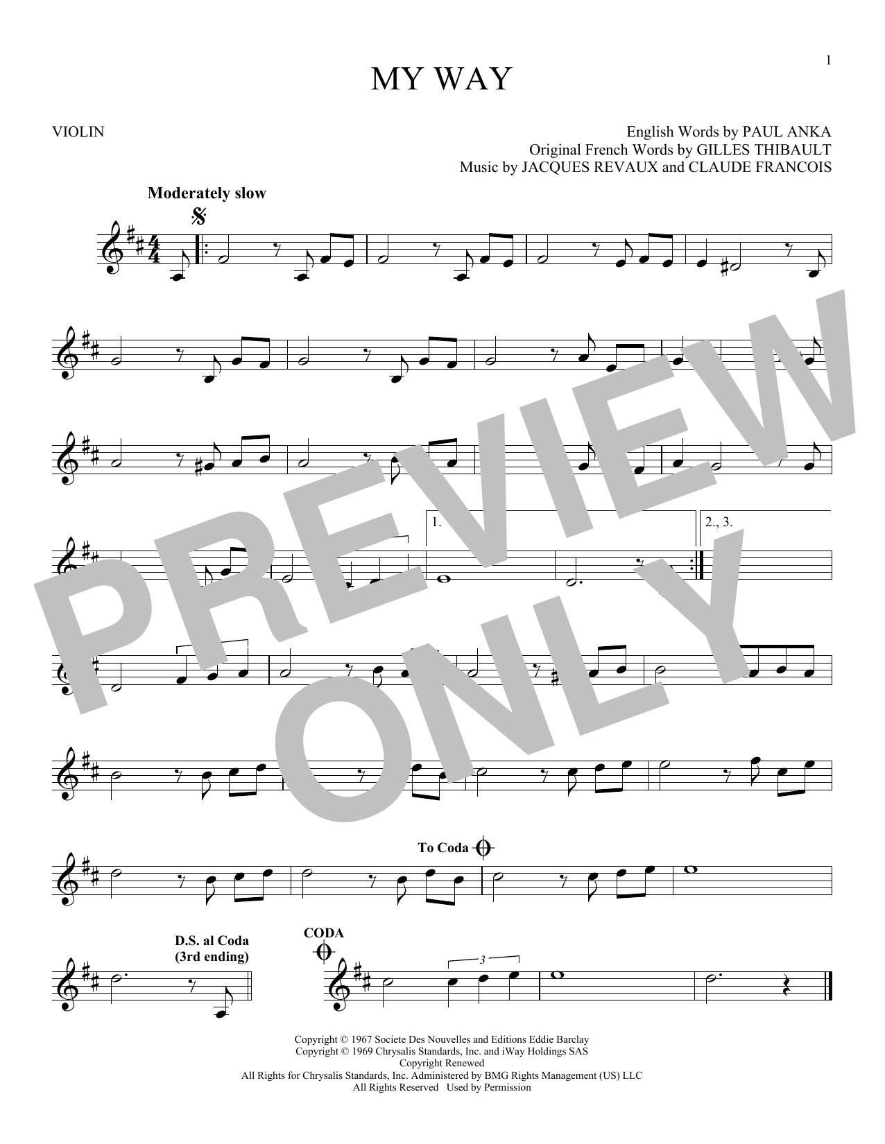 Partition autre My Way de Frank Sinatra - Violon