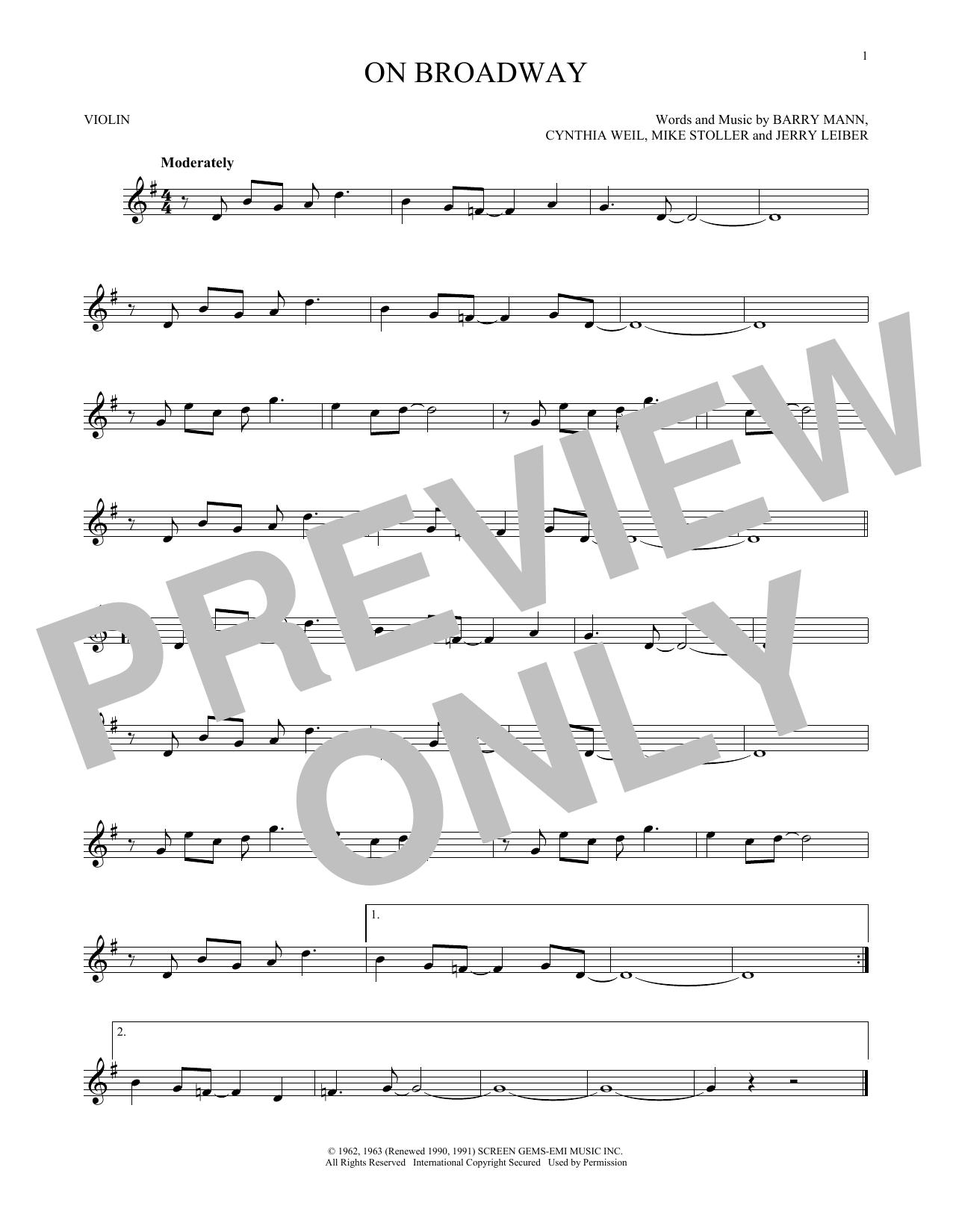 Partition autre On Broadway de George Benson - Violon