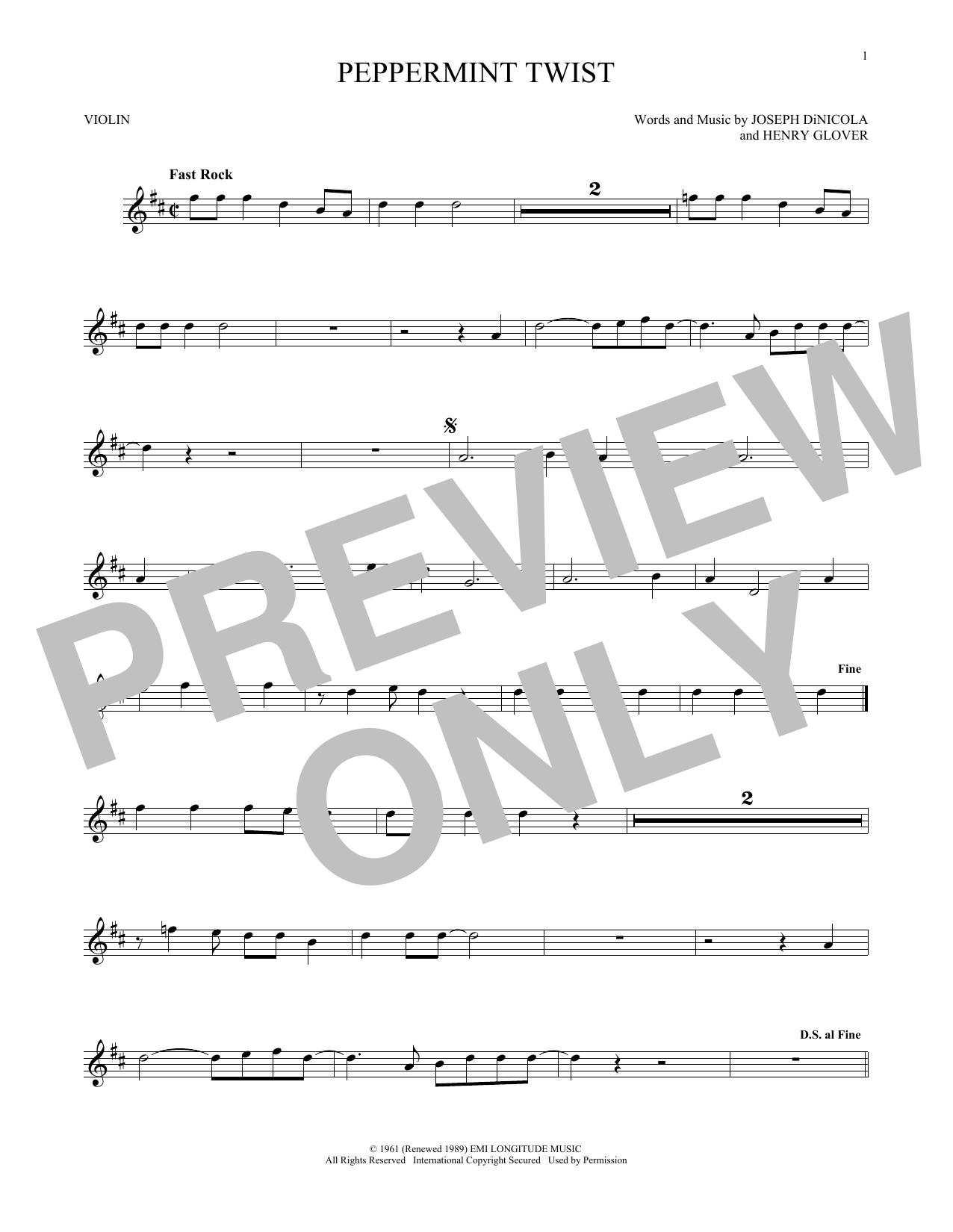 Partition autre Peppermint Twist de Joey Dee & The Starliters - Violon