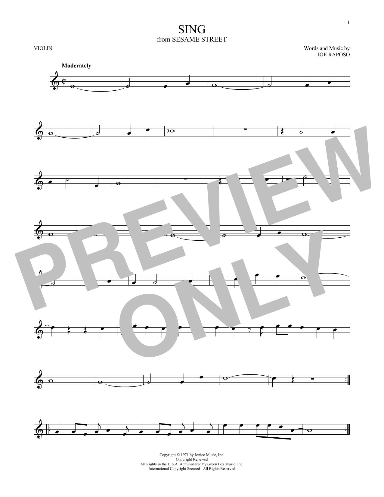 Partition autre Sing de The Carpenters - Violon