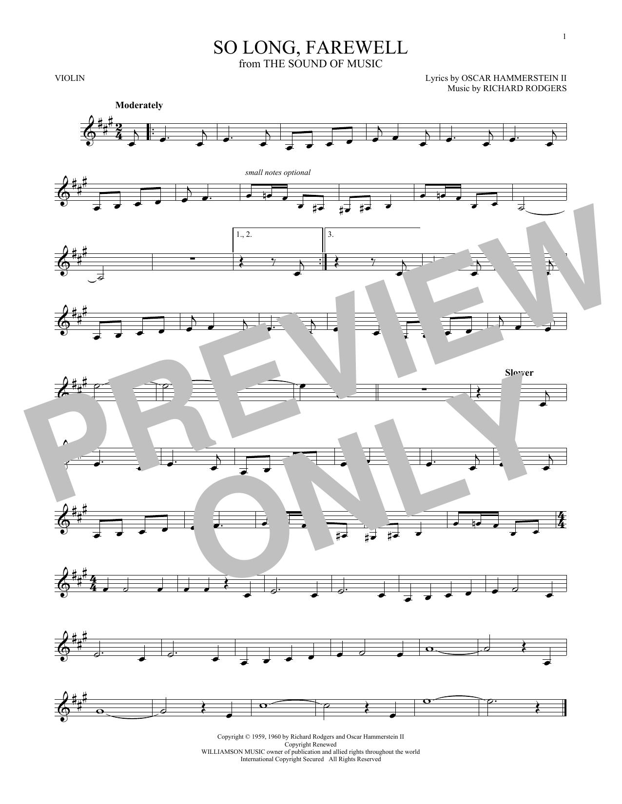Partition autre So Long, Farewell de Rodgers & Hammerstein - Violon