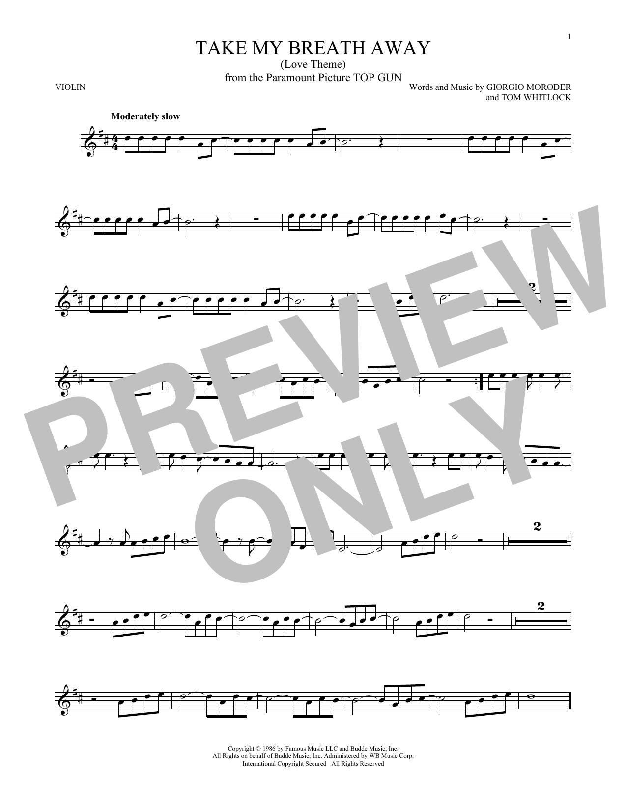 Partition autre Take My Breath Away (Love Theme) de Giorgio Moroder - Violon