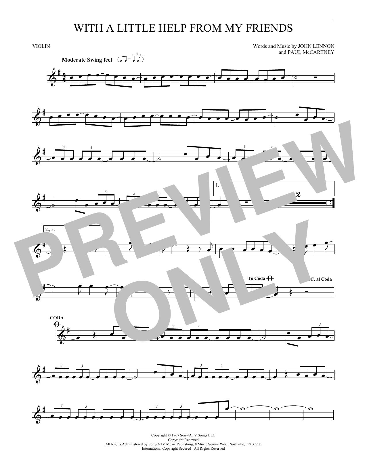 Partition autre With A Little Help From My Friends de The Beatles - Violon