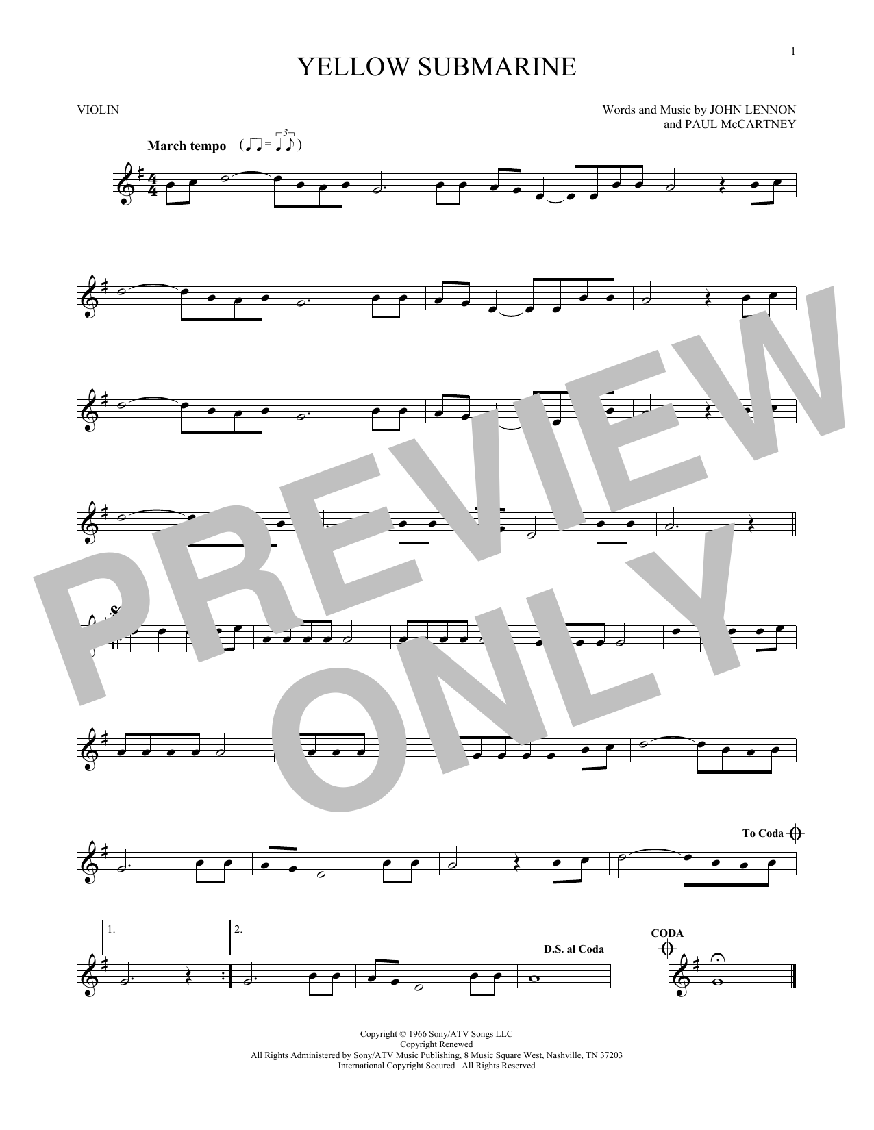 Partition autre Yellow Submarine de The Beatles - Violon