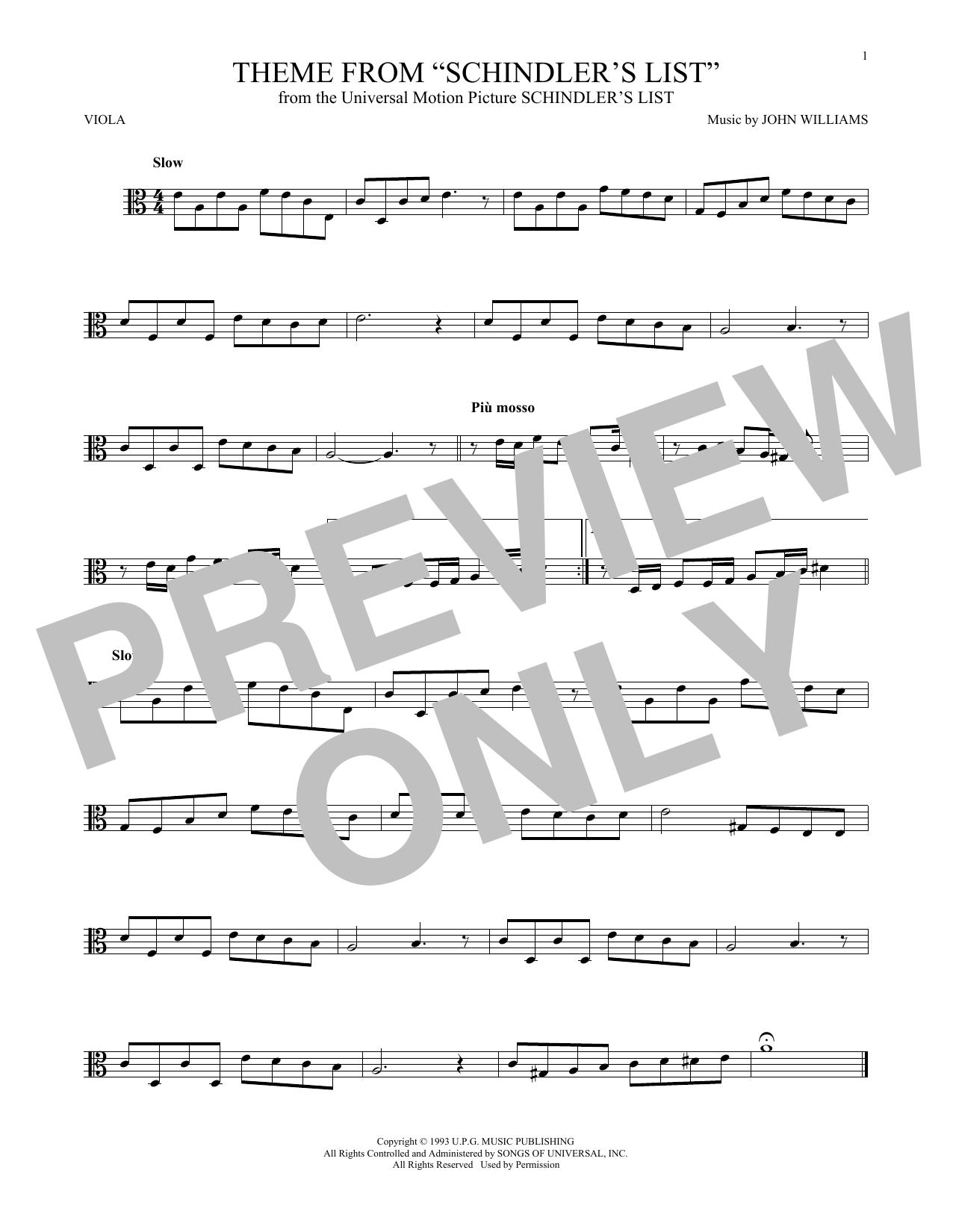 Partition autre Theme From Schindler's List de John Williams - Alto