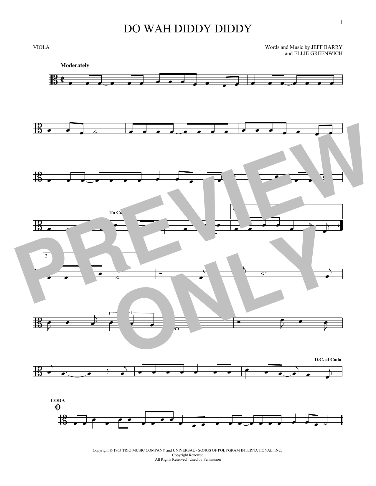 Partition autre Do Wah Diddy Diddy de Manfred Mann - Alto