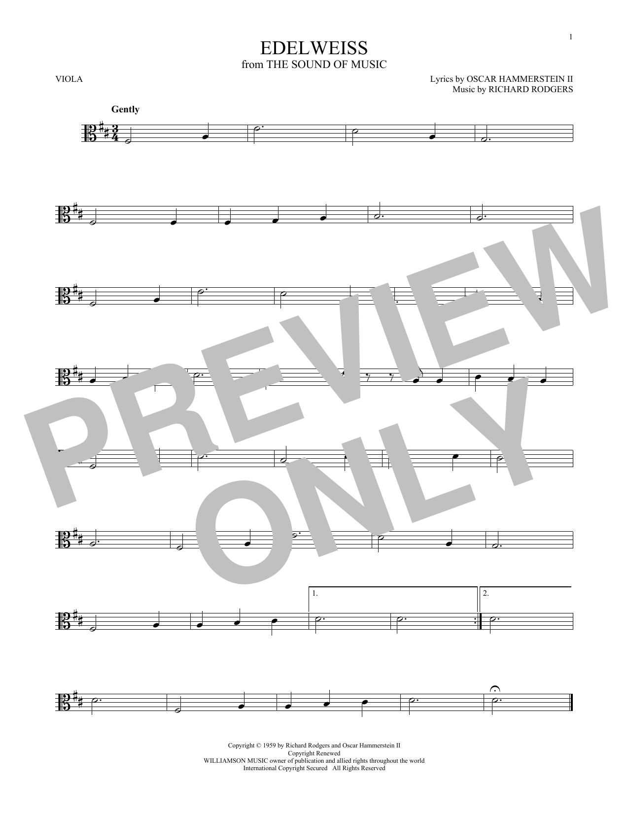 Partition autre Edelweiss de Rodgers & Hammerstein - Alto