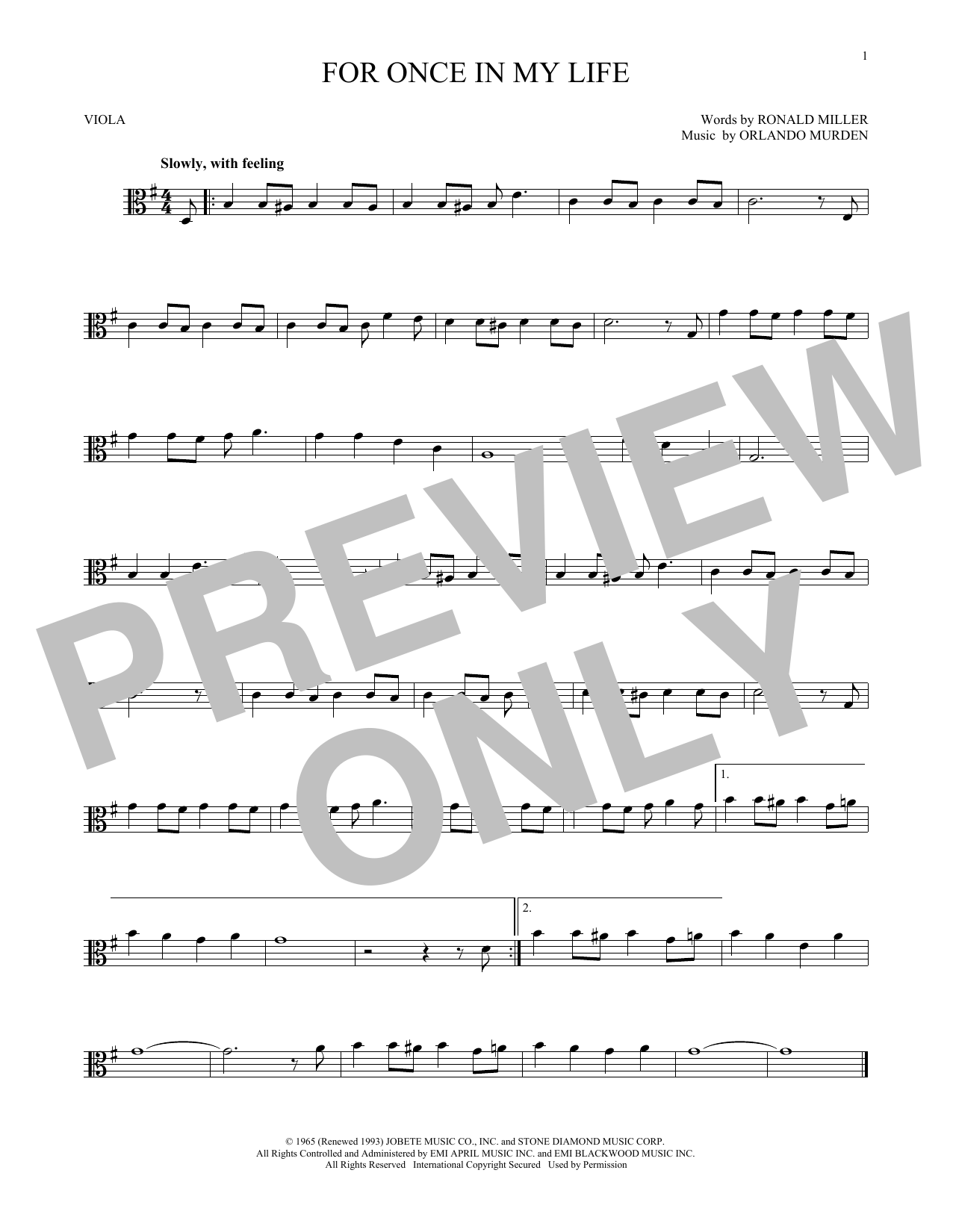 Partition autre For Once In My Life de Stevie Wonder - Alto