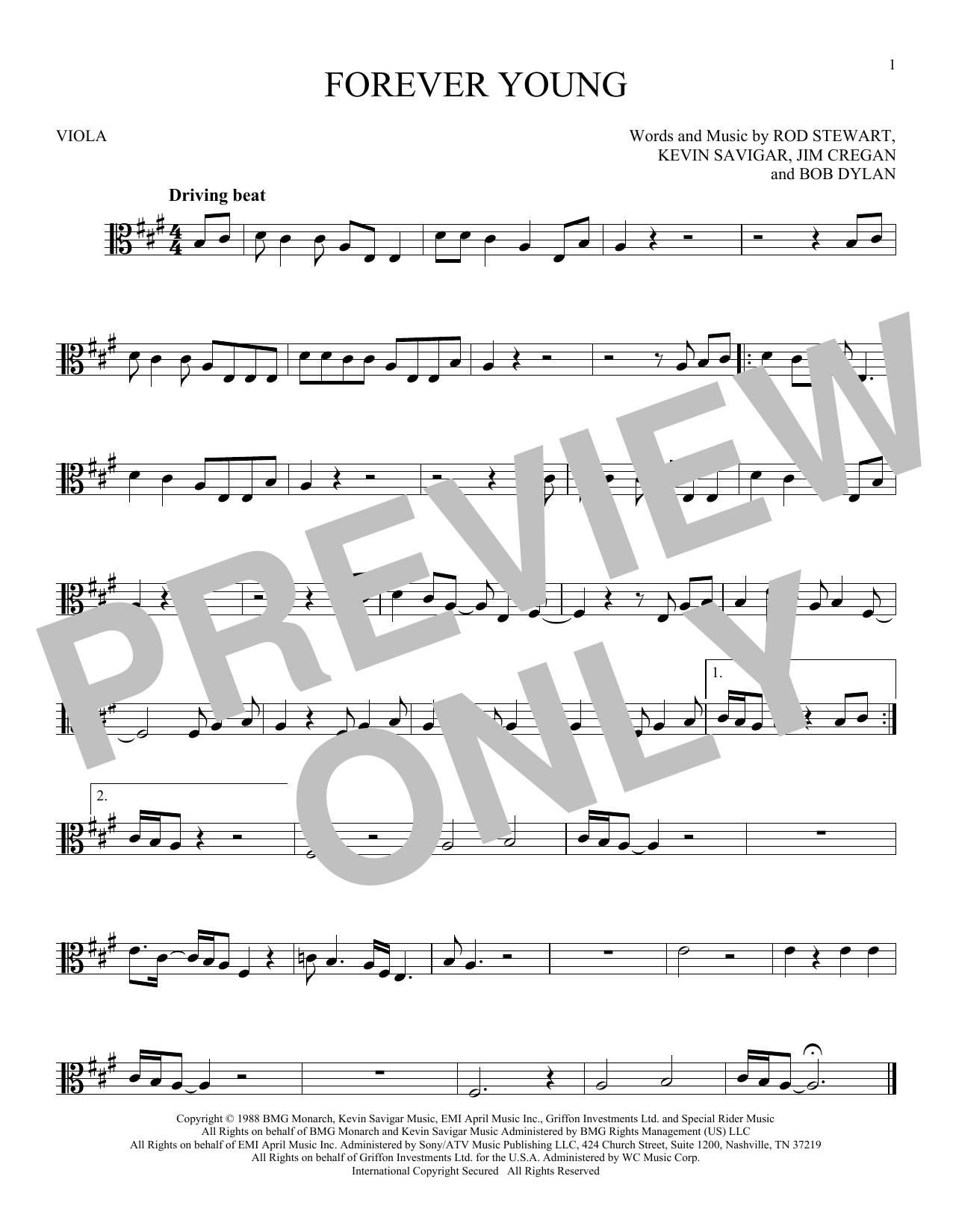 Partition autre Forever Young de Rod Stewart - Alto
