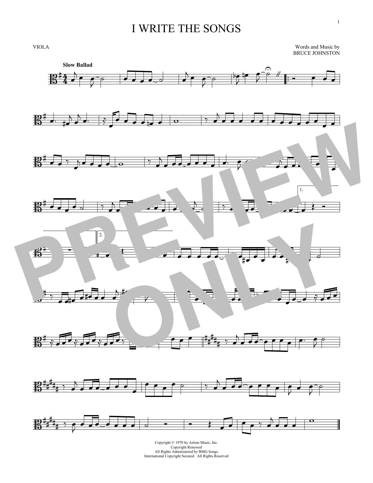 Partition autre I Write The Songs de Barry Manilow - Alto