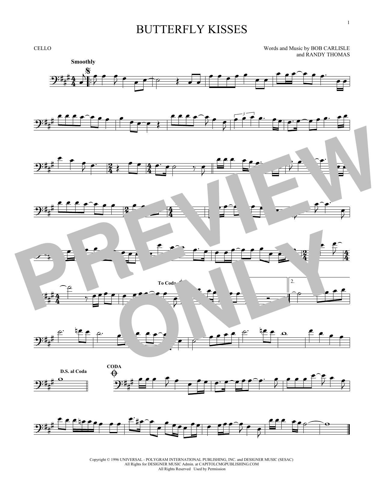 Partition autre Butterfly Kisses de Bob Carlisle - Violoncelle