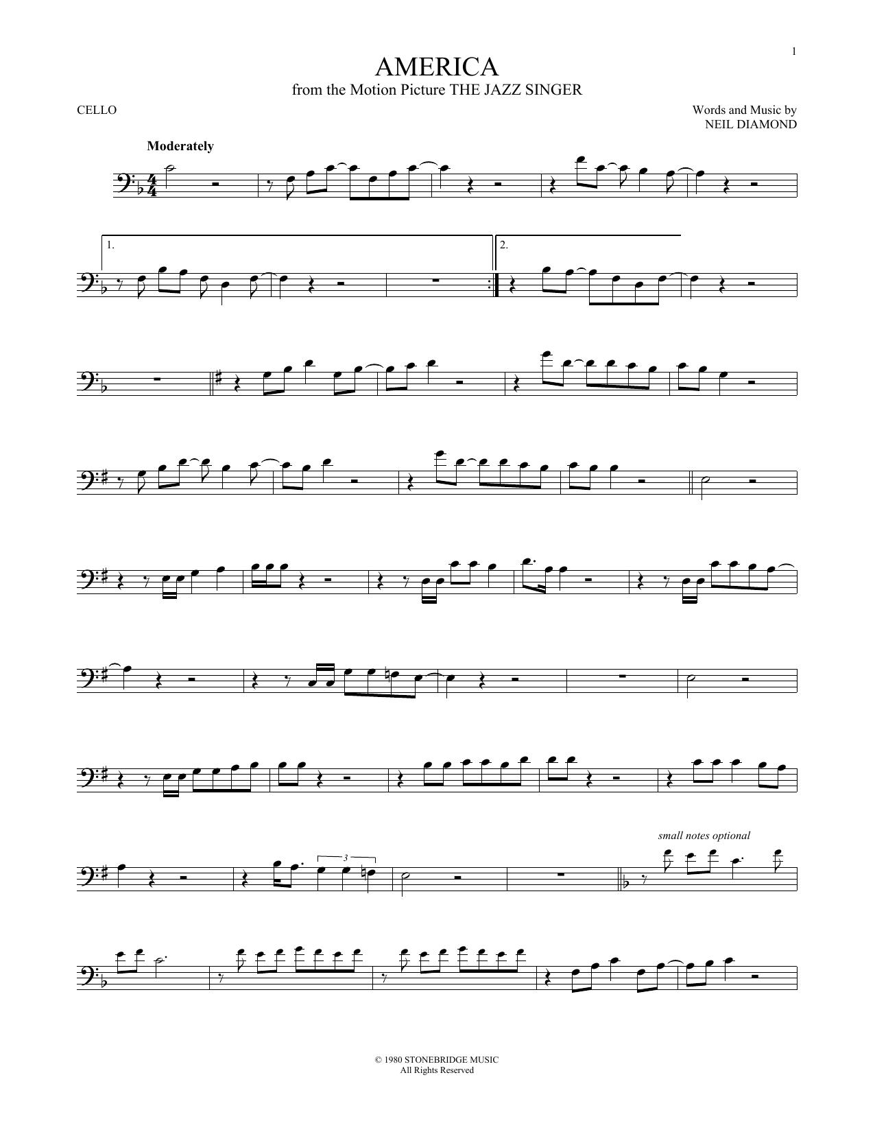 Partition autre America de Neil Diamond - Violoncelle