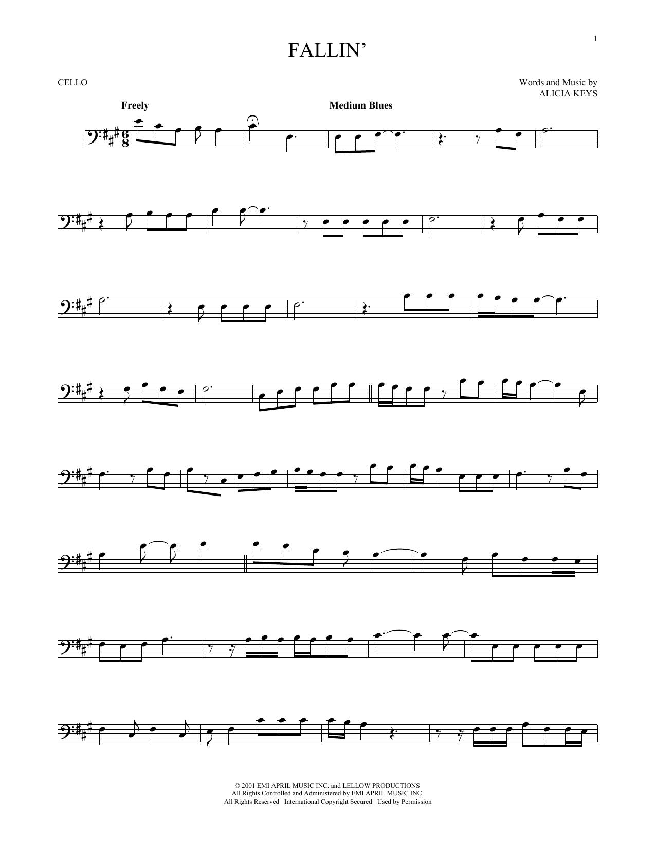 Partition autre Fallin' de Alicia Keys - Violoncelle