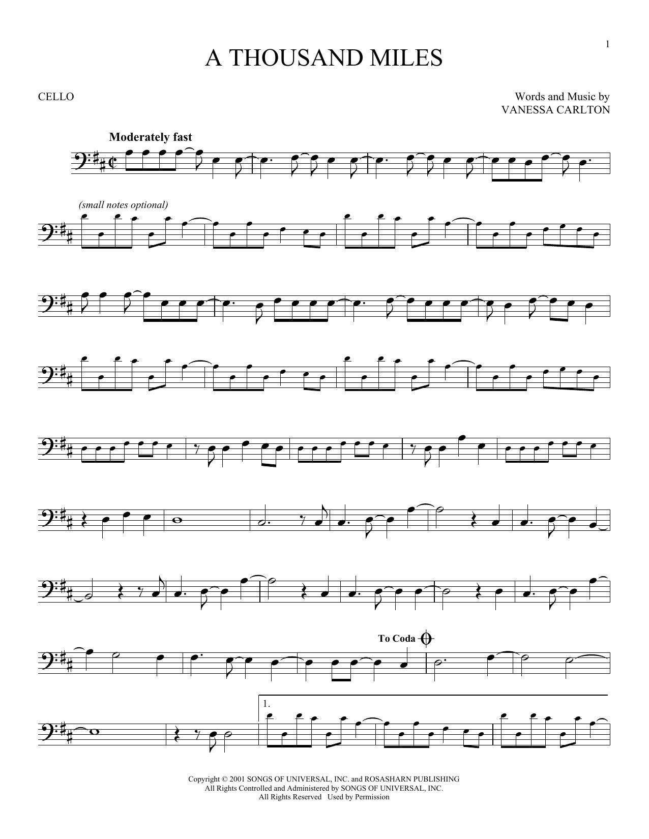 Partition autre A Thousand Miles de Vanessa Carlton - Violoncelle