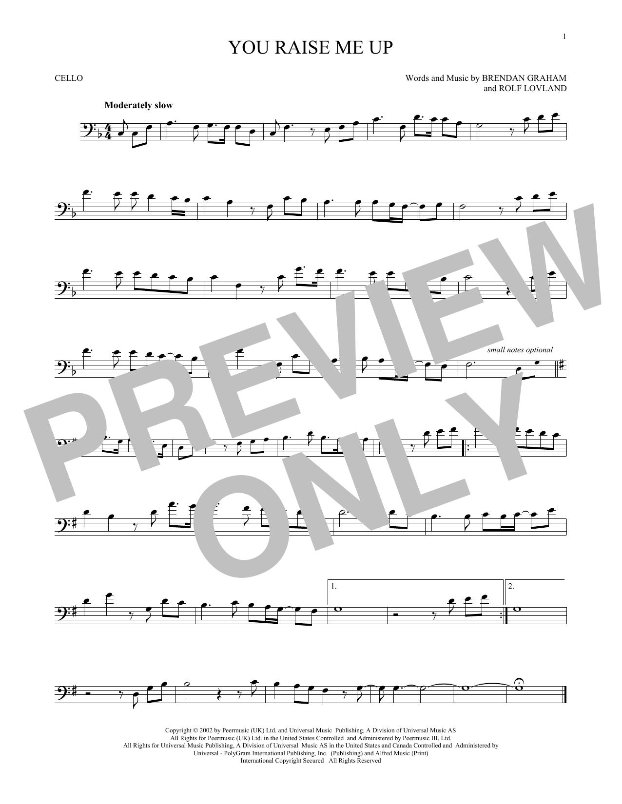 Partition autre You Raise Me Up de Brendan Graham - Violoncelle