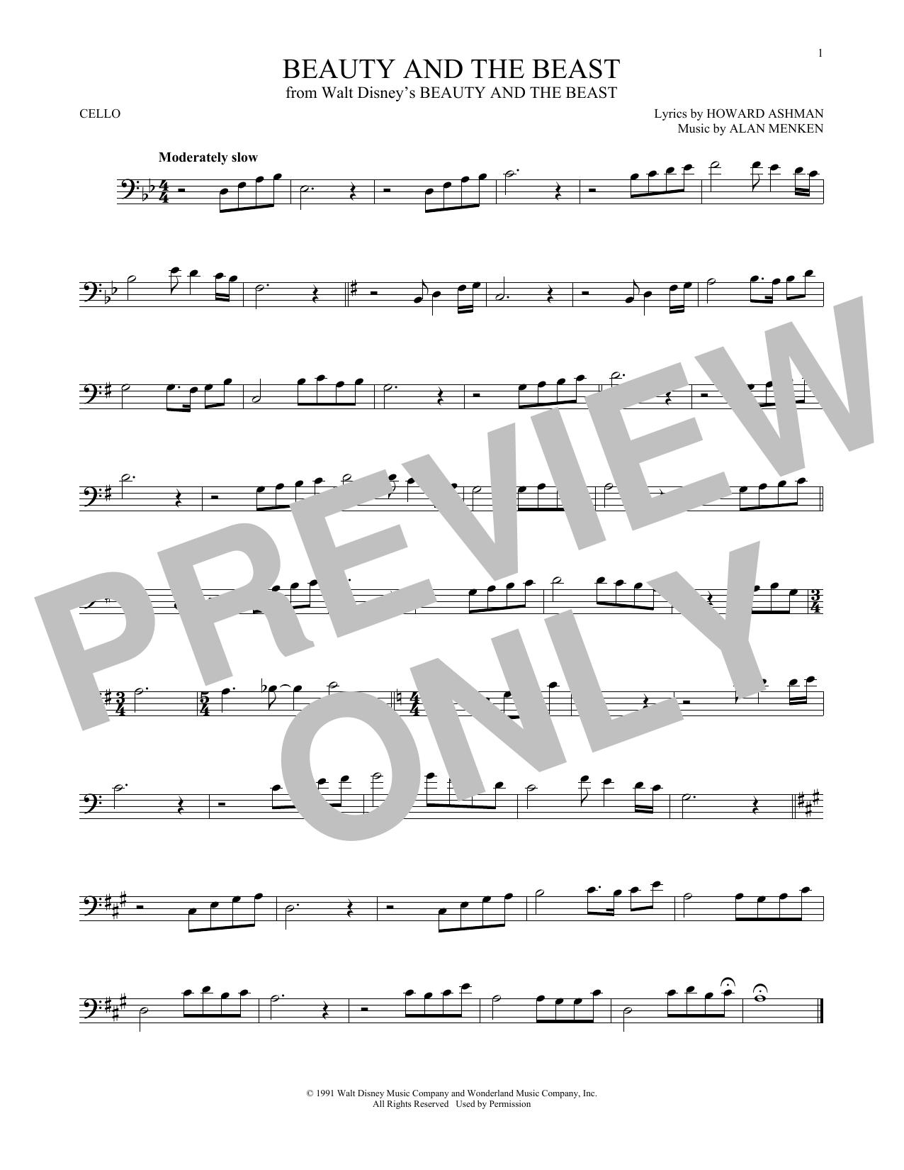 Partition autre Beauty And The Beast de Alan Menken - Violoncelle